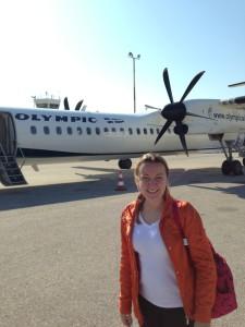 Nosso avião na pista em Mykonos