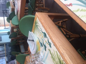 Detalhe das mesas