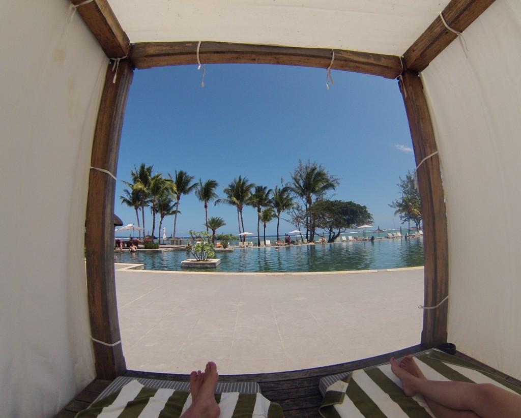 Cabana na piscina